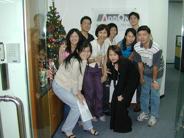 AFON Christmas celebrations in 2001 (when it was still AddOn Solutions)