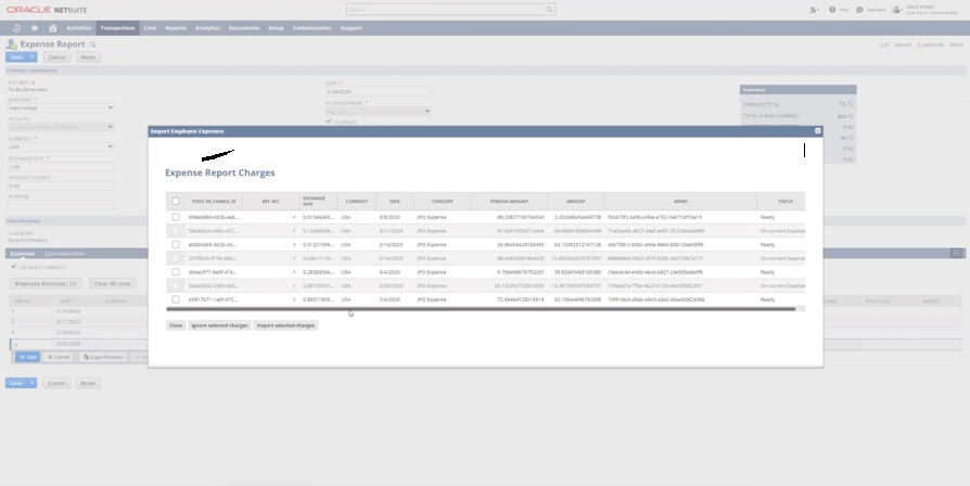 NetSuite Expense Reports