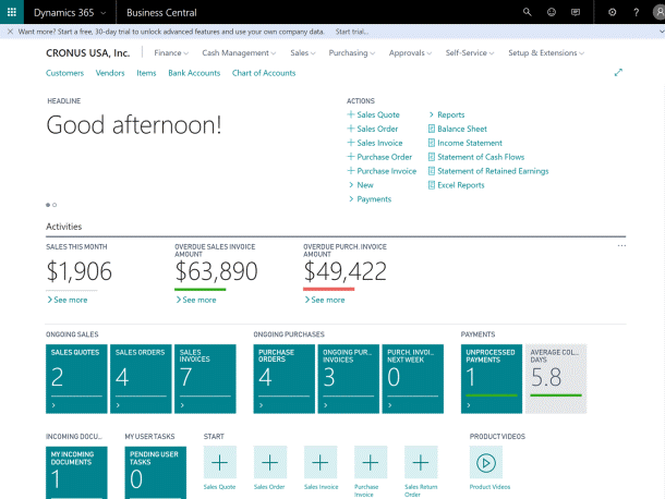Role Centre Dashboard in Microsoft Dynamics 365 Business Central