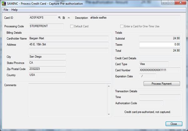 accpac credit card